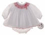 "<img src=""http://site.grammies-attic.com/images/blue-sold-1.gif""> NEW Sarah Louise White Batiste Diaper Set with Red Smocking"