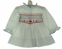 "<img src=""http://site.grammies-attic.com/images/blue-sold-1.gif""> NEW Polly Flinders White Smocked Dress with Navy Dots and Red Embroidery"