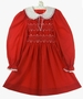 Polly Flinders Red Smocked Dress with White Lace Collar and White Embroidery