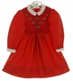 Polly Flinders Red Smocked Dress with Eyelet Collar and Embroidered Flowers
