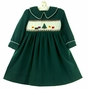 Polly Flinders Green Smocked Dress with Christmas Tree Embroidery