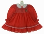 Polly Flinders Red Dotted Smocked Dress with Embroidered Pearl Trimmed Tree