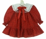 Polly Flinders Red Holiday Print Smocked Dress with White Eyelet Trimmed Collar