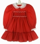 Polly Flinders Red Smocked Dress with Lace Collar Embroidered Flowers and Seed Pearls