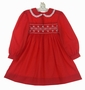 Polly Flinders Red Smocked Dress with White Eyelet Edged Collar and Pearl Trimmed Flowers