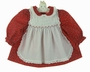 Polly Flinders Red Holiday Print Dress with White Smocked Pinafore