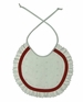 """<img src=""""http://site.grammies-attic.com/images/blue-sold-1.gif""""> NEW White Ruffled Eyelet Bib with Red Trim"""