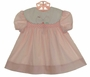 "<img src=""http://site.grammies-attic.com/images/blue-sold-1.gif""> Polly Flinders Pink Smocked Dress with Kissing Cats on White Portrait Collar"