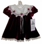 NEW Rare Editions Burgundy Velvet Dress with Ivory Lace Trimmed Collar