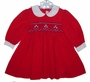 House of Hatten Red Corduroy Smocked Baby Dress with Flower Embroidery