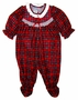"<img src=""http://site.grammies-attic.com/images/blue-sold-1.gif""> NEW Red Plaid Footed Pajamas for Baby Girls with Ruffle Bottom"