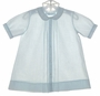 "<img src=""http://site.grammies-attic.com/images/blue-sold-1.gif""> Feltman Brothers Pale Blue Pintucked Daygown with White Embroidered Snowmen"