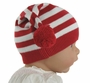 NEW Angel Dear Red and White Striped Soft Cotton Knit Hat with Pom Poms