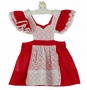 Heirloom 1950s Red Organdy Pinafore with White Eyelet and Lace Trim