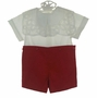 "<img src=""http://site.grammies-attic.com/images/blue-sold-1.gif"">  NEW Victorian Heirlooms Red Cotton Button on Shorts Set with White Battenburg Collar"