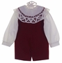 "<img src=""http://site.grammies-attic.com/images/blue-sold-1.gif"">  NEW Victorian Heirlooms Dark Red Velvet Shortall Set with Battenburg Lace Trimmed Collar"