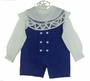 NEW Victorian Heirlooms Royal Blue Velvet Double Breasted Shortall Set with Battenburg Lace Trimmed Collar