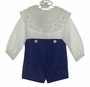 NEW Victorian Heirlooms Royal Blue Velvet Button on Shorts Set with Battenburg Lace Trimmed Collar