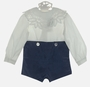 "<img src=""http://site.grammies-attic.com/images/blue-sold-1.gif""> NEW Victorian Heirlooms Wedgewood Blue Velvet Button on Shorts Set with Battenburg Lace Trimmed Collar"