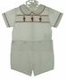"<img src=""http://site.grammies-attic.com/images/blue-sold-1.gif""> NEW Bailey Boys White Smocked Button On Shorts Set with Nutcracker Embroidery"