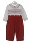 "<img src=""http://site.grammies-attic.com/images/blue-sold-1.gif""> NEW Royal Child Red Corduroy Button On Pants Set with Smocked White Shirt and Red Embroidery"