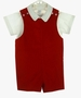 "<img src=""http://site.grammies-attic.com/images/blue-sold-1.gif""> NEW Imp Red Velvet Shortall with Short Sleeved White Shirt"