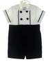 "<img src=""http://site.grammies-attic.com/images/blue-sold-1.gif""> NEW Florence Eiseman Black Velvet Button On Shorts Set with White Pique Shirt"