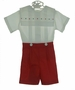 NEW Pieces by Tam Red Button On Shorts Set with Holiday Embroidered Portrait Collar