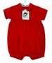 NEW Will'Beth Corduroy Red Romper with Snowman Embroidery