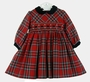 "<img src=""http://site.grammies-attic.com/images/blue-sold-1.gif""> NEW Sarah Louise Red Plaid Smocked Dress with Black Velvet Collar"