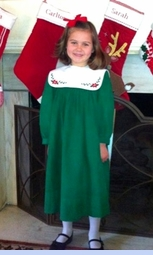 NEW Rosalina Green Corduroy Dress with Removable Holiday Embroidered Collar (HOC06106)