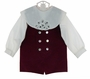 NEW Victorian Heirlooms Burgundy Velvet Shortall with Battenburg Lace Trimmed Collar