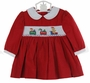 NEW Carriage Boutiques Red Corduroy Smocked Dress with Holiday Embroidery