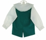 NEW Victorian Heirlooms Teal Corduroy Shortall Set with Lace Trimmed Collar