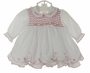 "<img src=""http://site.grammies-attic.com/images/blue-sold-1.gif""> NEW Sarah Louise White Smocked Dress and Diaper Cover with Red Embroidery and Ruffled Trim"