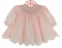 NEW Sarah Louise Pink Bishop Smocked Dress and Diaper Cover with Embroidered Flowers and Scalloped Hem