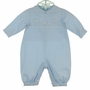 NEW Petit Ami Blue Cotton Romper and Matching Hat with Airplane Embroidery