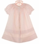 NEW Rosalina Vintage Style Pink Bishop Style Smocked Daygown With Triple Pintucks and Delicate Pink Embroidery