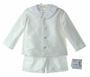 NEW Gordon and Company Pearl White Silk Eton Suit with Shorts