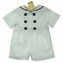 NEW Gordon and Company White Pique Button On Sailor Shorts Set with Navy Trim