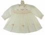 NEW Sarah Louise Ivory Smocked Baby Dress with Peach Embroidery and Scalloped Trim and Matching Diaper Cover
