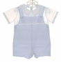 NEW Feltman Brothers Blue and White Shortall Set with Appliqued Trains
