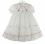 NEW Will'Beth White Ruffled Dress with Red Embroidered Flowers, Lace, Seed Pearls, and Red Ribbon Insertion with Short Sleeves or Long Sleeves