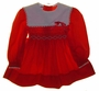 "<img src=""http://site.grammies-attic.com/images/blue-sold-1.gif""> Polly Flinders Red Smocked Dress with Heart Embroidery and White Portrait Collar"