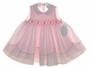 NEW Sarah Louise Pink Sleeveless Smocked Dress with Fagoted Scalloped Collar