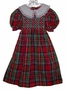 Polly Flinders Red Plaid Taffeta Smocked Little Girls Dress with White Collar