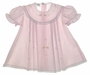 "<img src=""http://site.grammies-attic.com/images/blue-sold-1.gif""> Garden of Angels Pink Pleated Baby Dress with Lace and Delicate Embroidery"