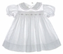 Polly Flinders White Eyelet Smocked Toddler Dress with Pink Rosebud Embroidery
