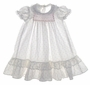 "<img src=""http://site.grammies-attic.com/images/blue-sold-1.gif""> Polly Flinders Pink Rosebud Print Long Baby Dress with Lacy Ruffled Hem"