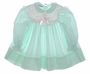 "<img src=""http://site.grammies-attic.com/images/blue-sold-1.gif""> Polly Flinders Green Flowered Smocked Baby Dress with Pink Embroidery"